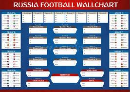 World Cup 2018 Wall Chart Russia Football Championship Wallchart Vector Illustration