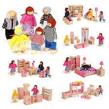 dolls furniture set. Wooden Furniture Dolls House Family Miniature 6 Room Set For Kids Children
