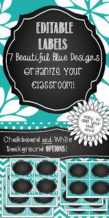 editable labels beautiful blue with chalkboard