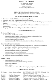 Resume Sample Production Assistant