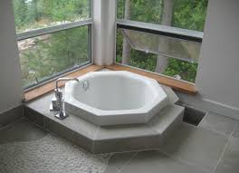 Decorations:Minimalist Angle Corner Window With Iron Frame Ideas Excellent  Corner Japanese Soaking Ceramic Tubs