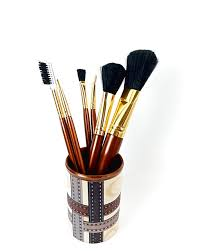 beauty cosmetic set of 6 makeup brushes brown