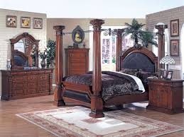 Great Canopy Bed 6 Piece Roman Empire Bedroom Set In Cherry Finish By Acme   9340