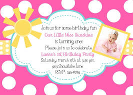 1st birthday party invitation wording with polka dot pattern backdrop