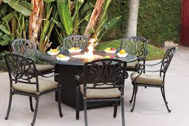 patio dining furniture sets patio furniture dining set cast aluminum 60 round propane fire pit