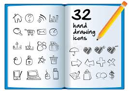 hand drawing icon on a big book with a pencil stock vector ilration