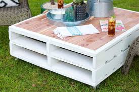 diy pallet coffee table gets an outdoor