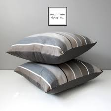 Brown & Grey Striped Outdoor Pillow Cover Decorative Pillow