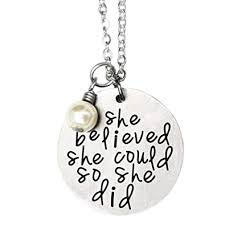 oriya snless steel she believed she could so she did necklace bracelet gift for women