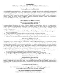 Special Education Teaching Resume Examples Teacher Objective Example