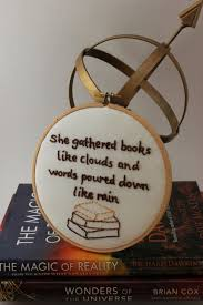 Book Quote Hand Embroidery Hoop Art Book Lover Reading Aftcra Interesting Book Lover Quotes