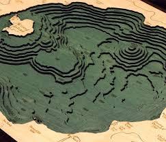 Crater Lake 3 D Nautical Wood Chart 16 X 20