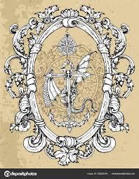 дракон миф сидя якорь компасом рамка барокко вектор эскиз татуировки