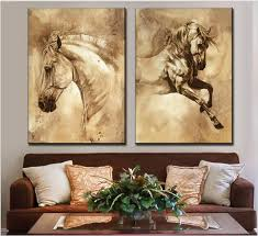 2017 direct ing 2 pcs combinated modern horse animal oil painting on canvas contemporary