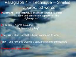 the highwayman essay plan ppt video online  7 paragraph