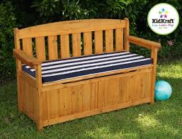 decorative outdoor storage bench seat with blue white stripe
