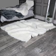 extra large white faux fur rug 160cm x 230cm