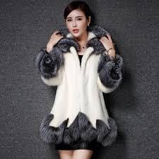 best quality faux fur coat women white gray with fur hat mink luxury long coat imitation fur jacket plus at women s fur faux fur
