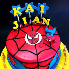 Handcraft Sweet Fondant Cake With 3d Spiderman Character Kljb