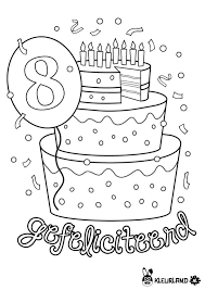 Verjaardagstaart 8 Jaar Boyama Sayfası Verjaardag School