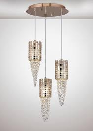 diyas il31626 camden pendant 3 light g9 round rose gold mosaic glass crystal from kes lighting