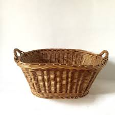 French Antique Laundry Basket - Medium Size - Vintage French Basket -  Handwoven Basket - Wicker