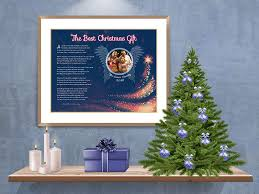 blue angel wings with tree art poem in frame with mat