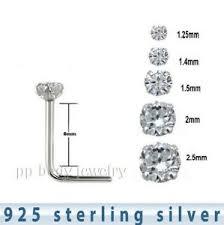 Details About 5pcs 925 Sterling Silver Prong Set L Shape Nose Stud 22g 1 25mm To 2 5mm Cz