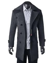 wool mens coat fashion men long trench winter outerwear warm jacket double ted overcoat wholes pea wool mens coat gap classic pea winter