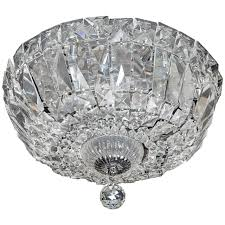 1940 s hollywood cut crystal drop down flush mount chandelier for