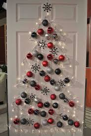 White And Red Christmas Decoration offers christmas tree on the door with  red silver