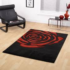 picture of monte carlo rose black red fl rug 60x110