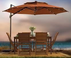 round patio cantilever umbrella with solar powered lights