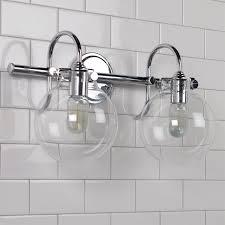 image bathroom light fixtures. Retro Glass Globe Bath Light - 2 Chrome Image Bathroom Fixtures