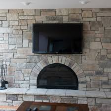 cobble stone fireplace