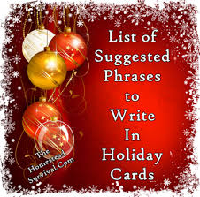 Holiday Greetings Quotes Beauteous The Homestead Survival List Of Suggested Phrases To Write In
