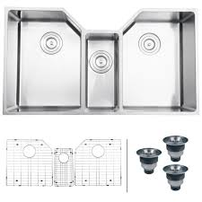 ruvati rvh8500 undermount 16 gauge 35 kitchen sink triple bowl stainless steel double bowl sinks com