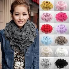 Winter Scarf <b>2016 Hot Fashion</b> New Women Solid Warm Knit Fringe ...