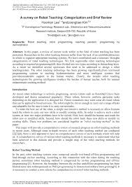 pdf a survey on robot teaching categorization and brief review
