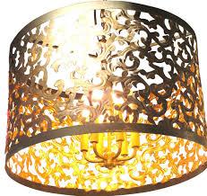 dark gold acanthus swirl drum pendant chandelier light ornate