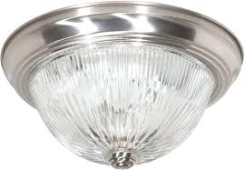 Nuvo Lighting Replacement Glass Nuvo Lighting Sf76 610 Two Light Flush Mount Brushed Nickel Clear Ribbed Glass
