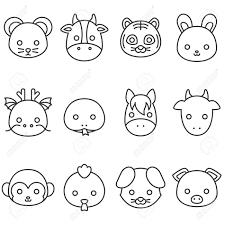 かわいい漫画中国の黄道帯の線のアイコンラット牛虎兎龍蛇馬ヤギ猿酉犬豚の顔