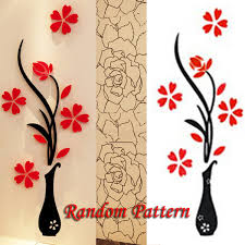 Small Picture 3D Vase Removable Flower Tree Crystal Acrylic wall sticker Home Decor