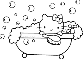 Printable hello kitty coloring pages are suitable for kids of all ages. Hello Kitty Coloring Pages Take A Bath Coloring4free Coloring4free Com