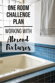 almond bathtub with text overlay one room challenge plan working with almond fixtures
