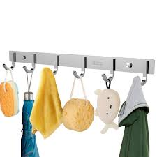 Wall Coat Rack With Hooks Amazon OUNONA Wall Coat Rack Coat Hooks Wall Mounted Stainless 46