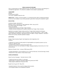 Resume Sample For Fresh Graduate Without Experience Gentileforda Com