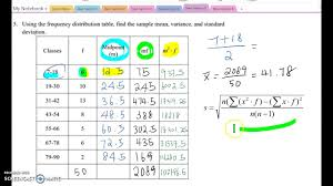 finding mean variance and sd using the frequency table