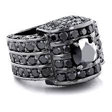 hip hop jewelry 14k gold mens black diamond ring 20ctw