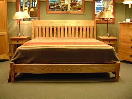 white oak mission king bed with low profile foot